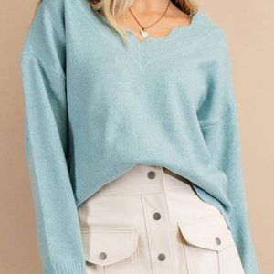 NWT BEAUTIFUL Heather Blue Sweater with Neckline and Bottom Scallops